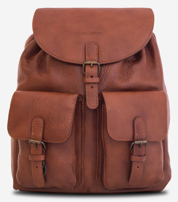 Front view of the elegant brown soft leather backpack.