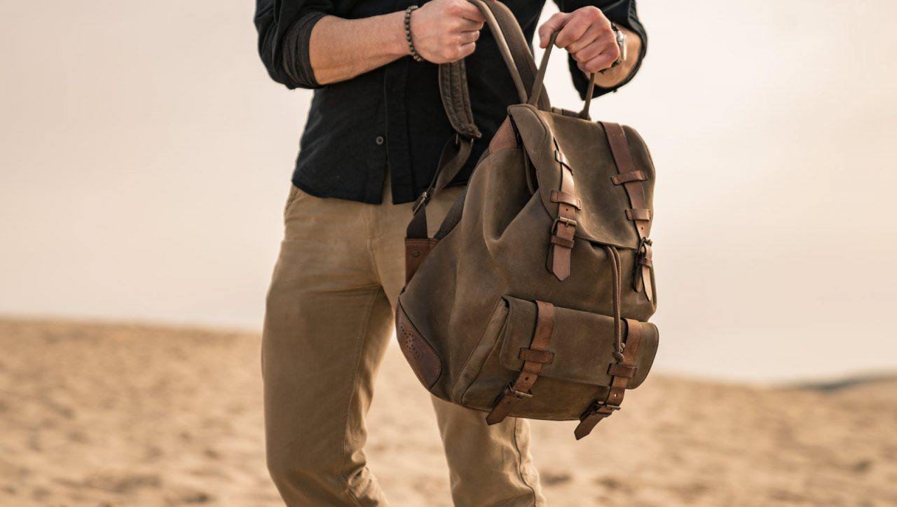 Durable leather backpack for men.