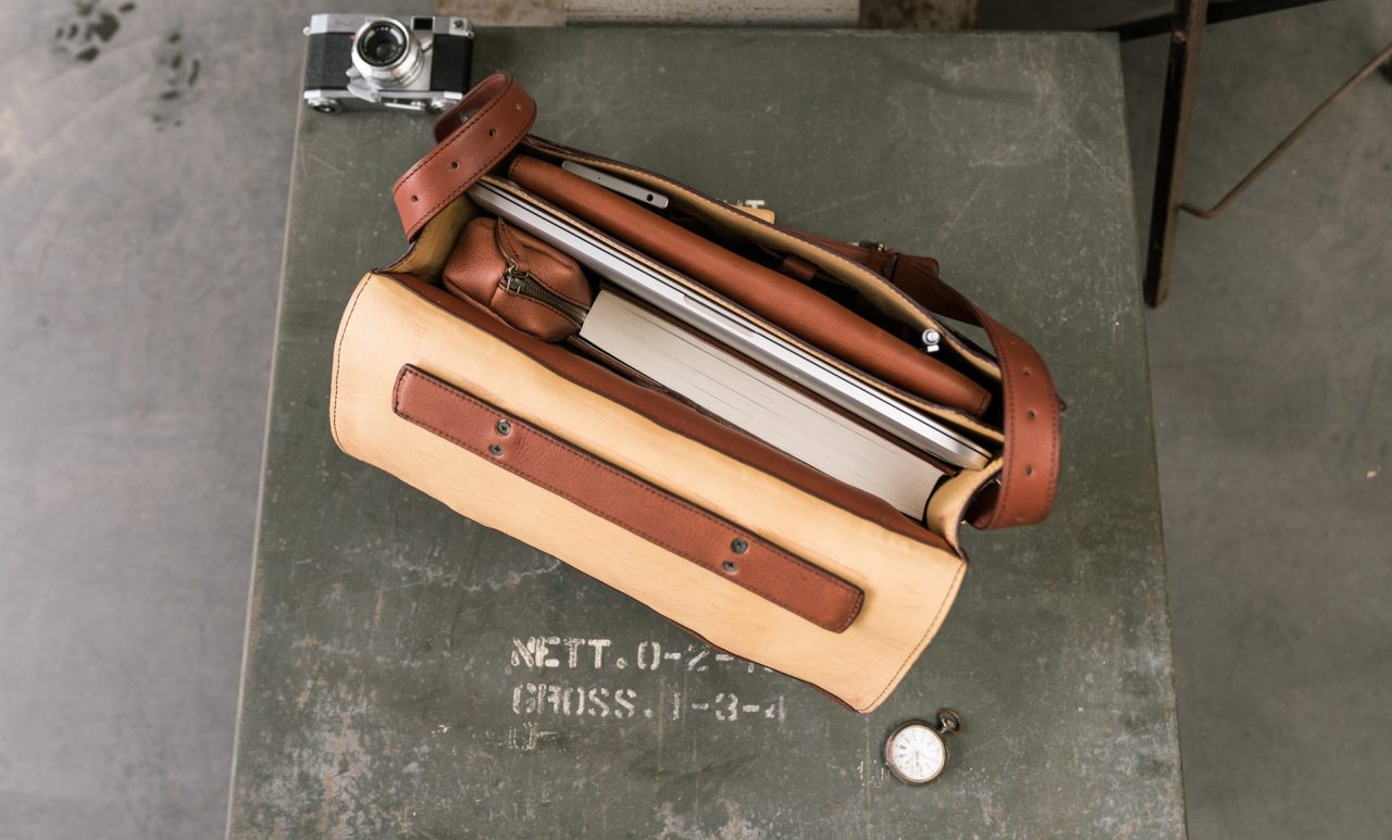 Executive leather briefcase with 2 compartments.