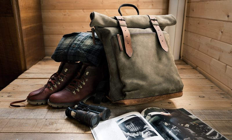 Beautiful rugged leather backpack.