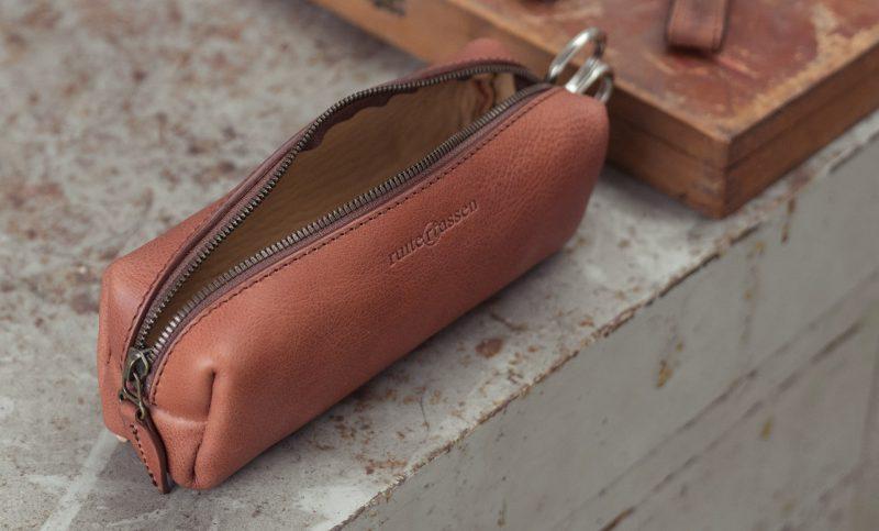 Handmade leather pencil case cognac brown colour.