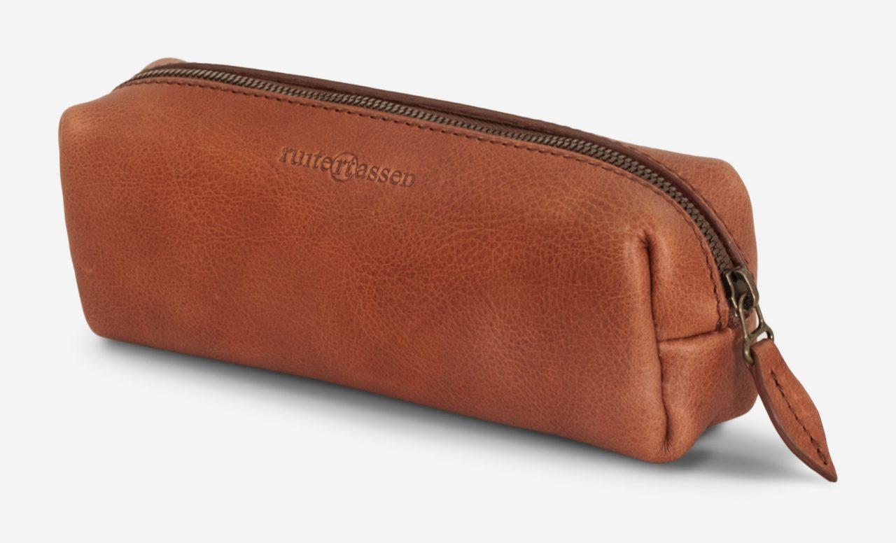 Durable leather pencil case.