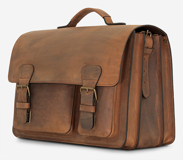 Large brown leather briefcase bag for men.