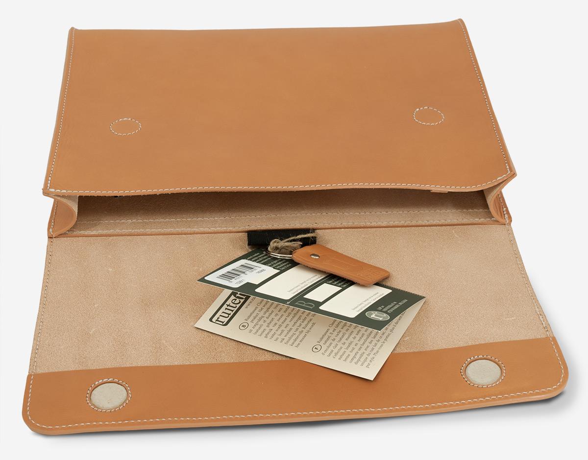 Underarm leather case interior.