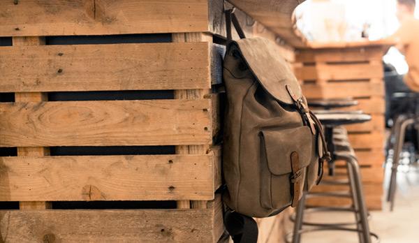 full-grain leather backpack for men.