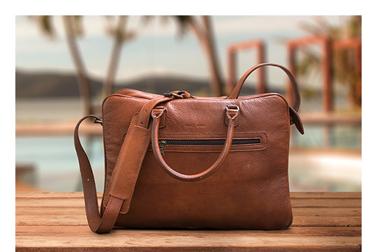 Travel leather bag with beautiful view.