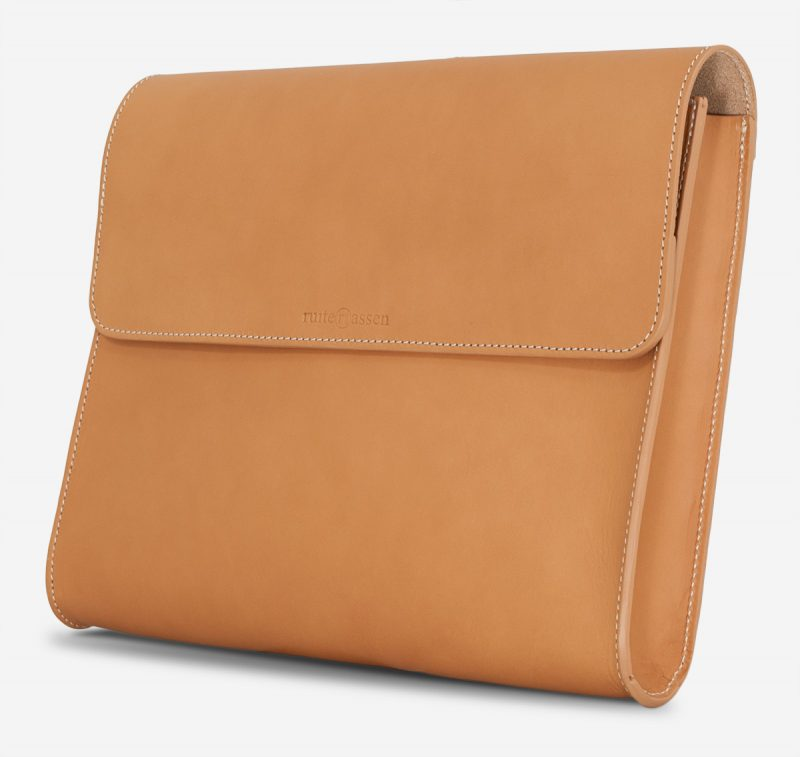 Side view of the tan leather document case.