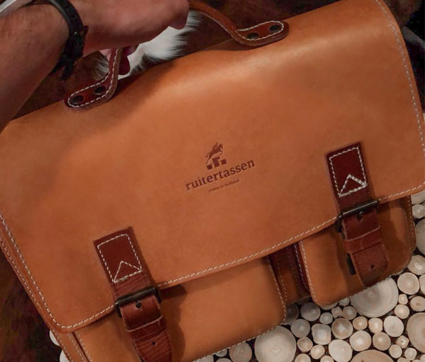 Beautiful leather satchel with patina.