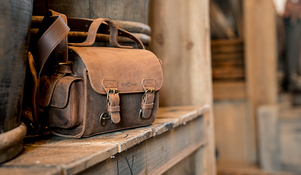 Vintage leather satchel bag for men.