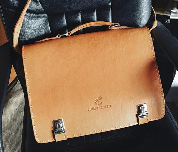 Sleek leather briefcase.