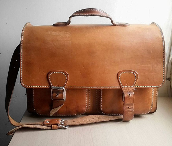 Vintage leather satchel with patina