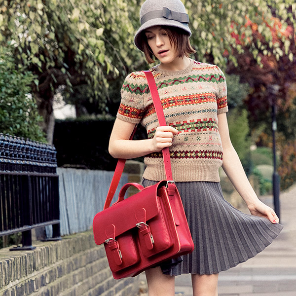Beautiful red leather satchel for womens.