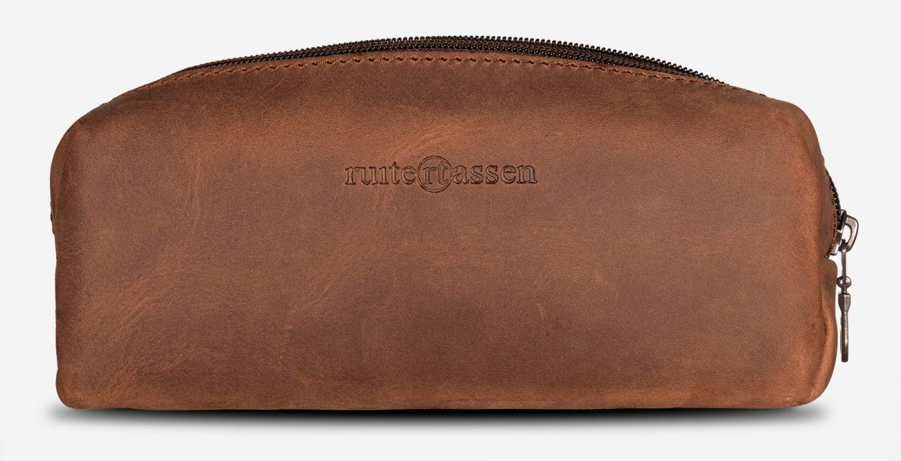 Handmade brown leather pencil bag.