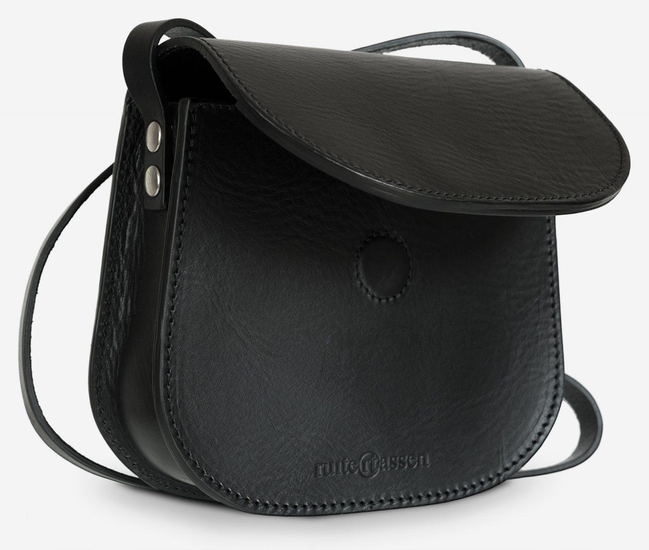 Small black leather shoulder bag open.