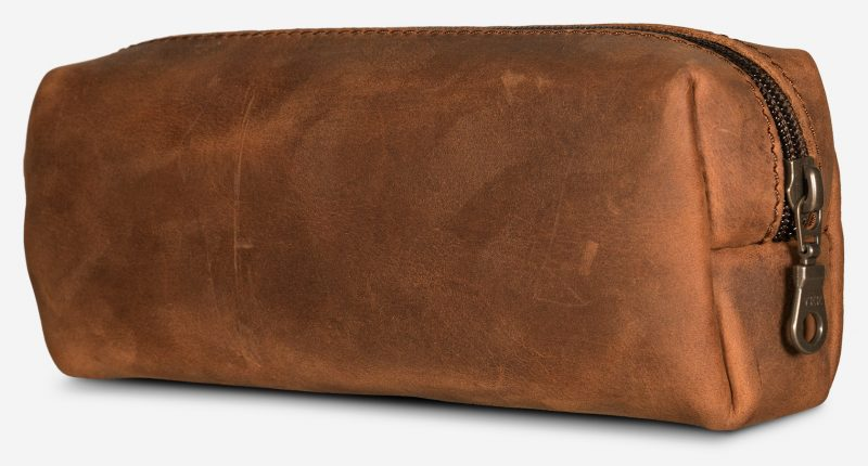 Brown leather pencil back rear view.
