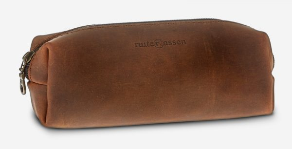 Brown leather pencil bag.