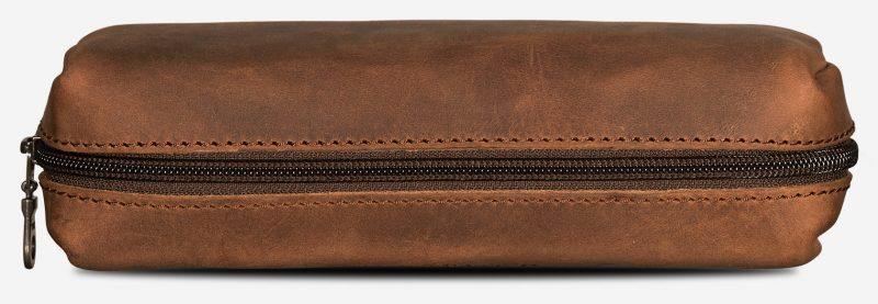 Brown leather pencil bag top view.