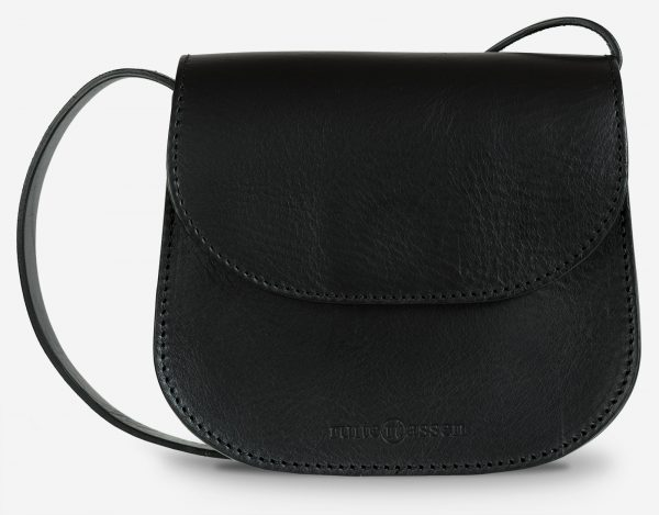small black leather shoulder bag - front view.