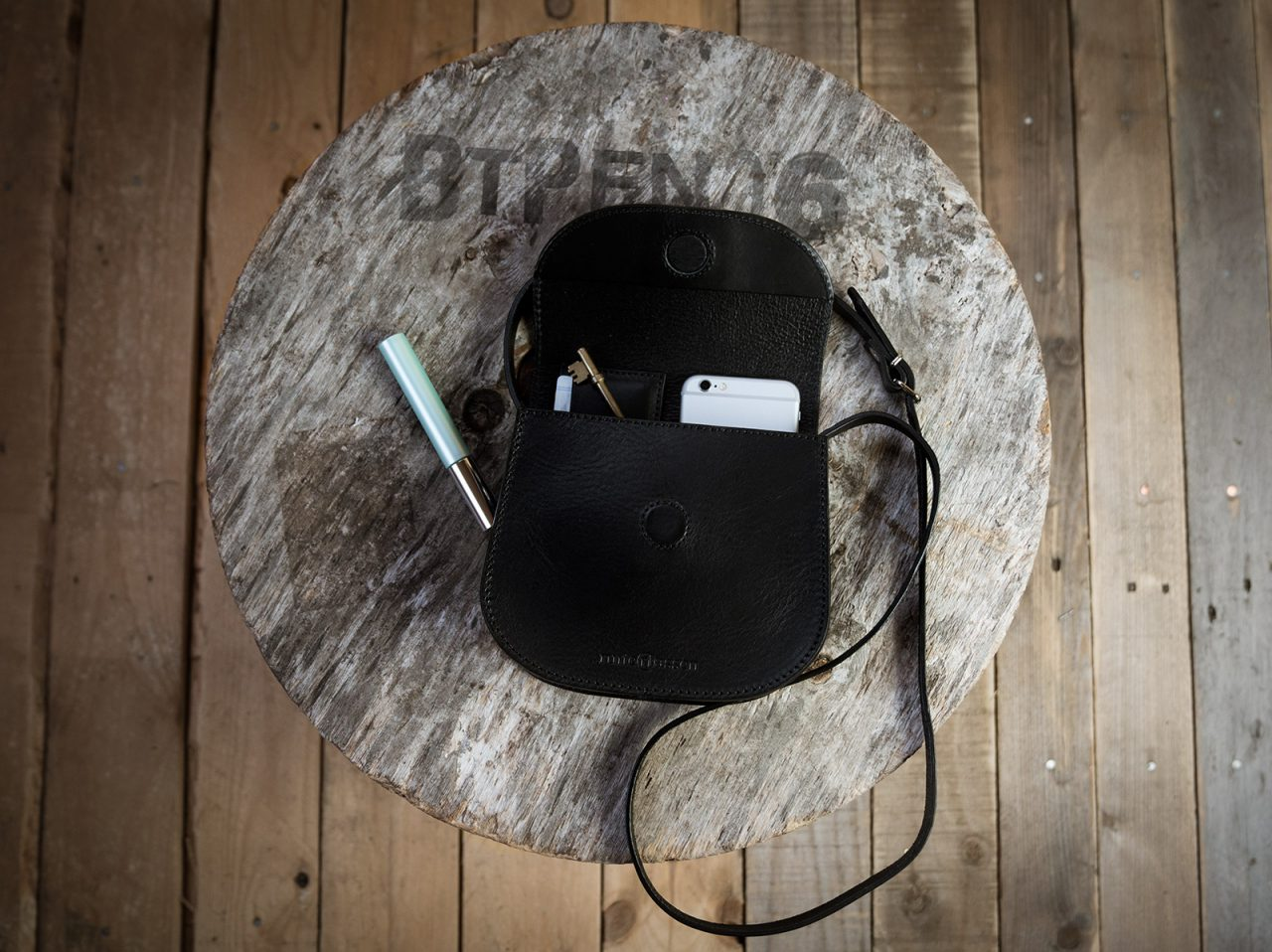 Small black leather bag with accessories.