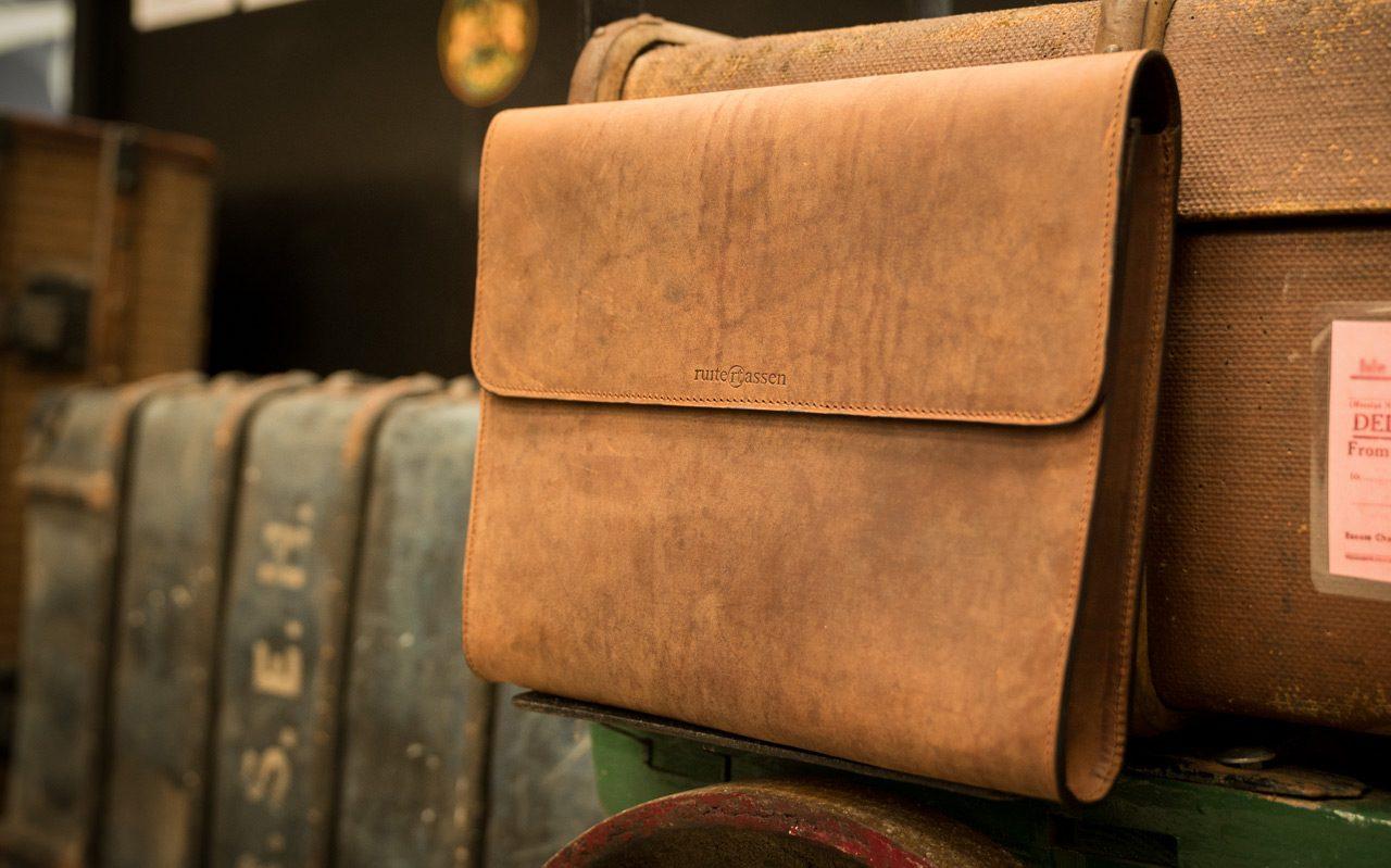 Brown leather document folder.