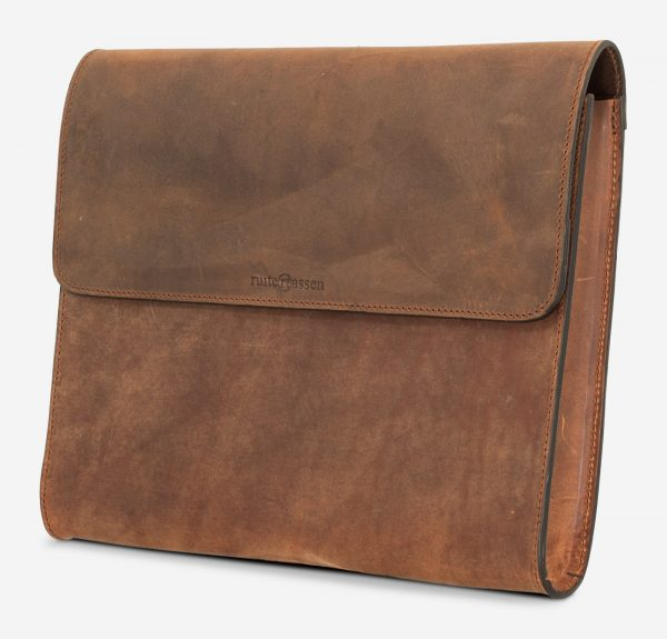 Brown leather case for documents.