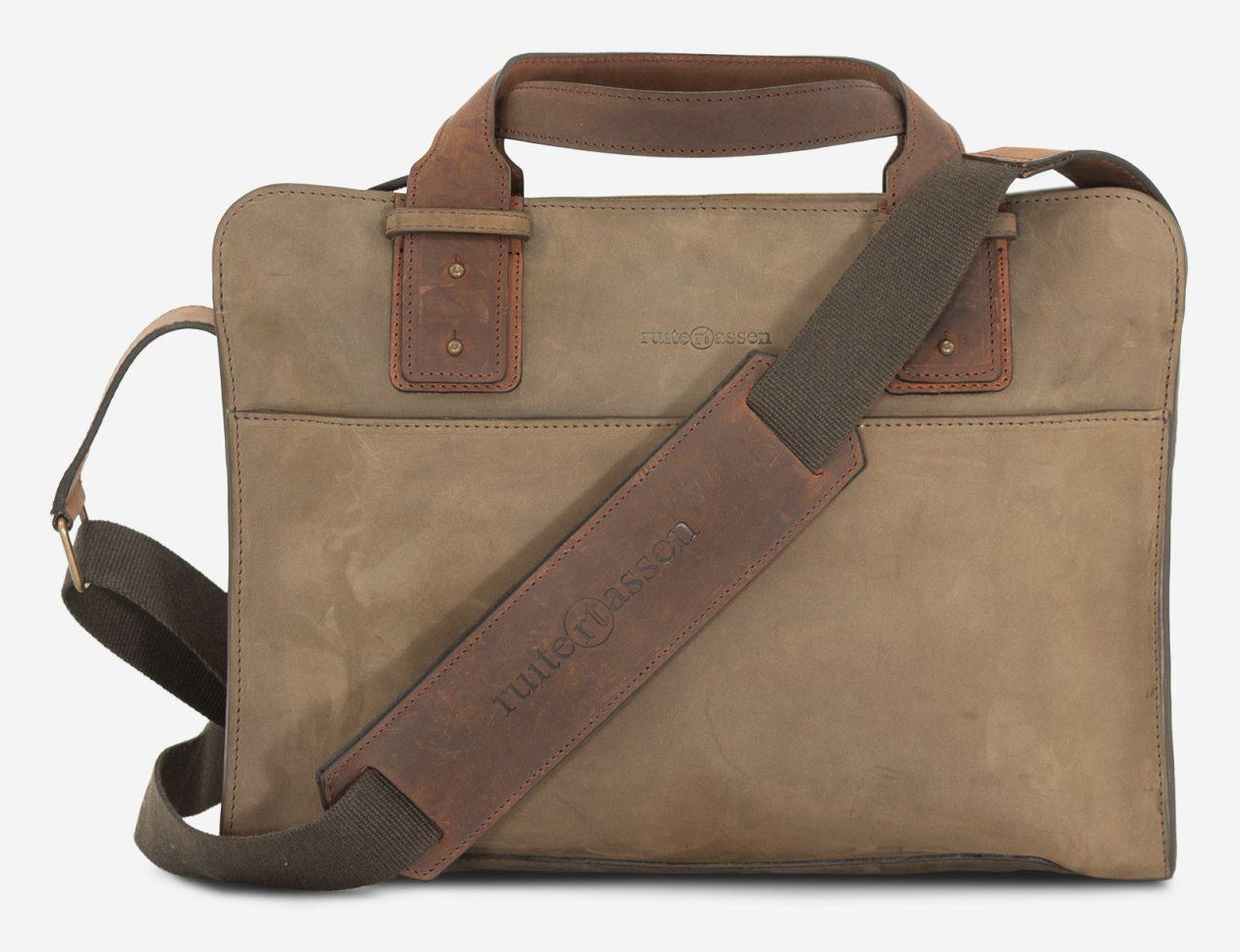 dark green leather briefcase
