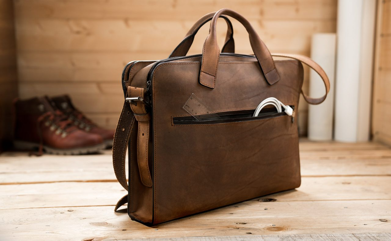 Vintage leather briefcase.