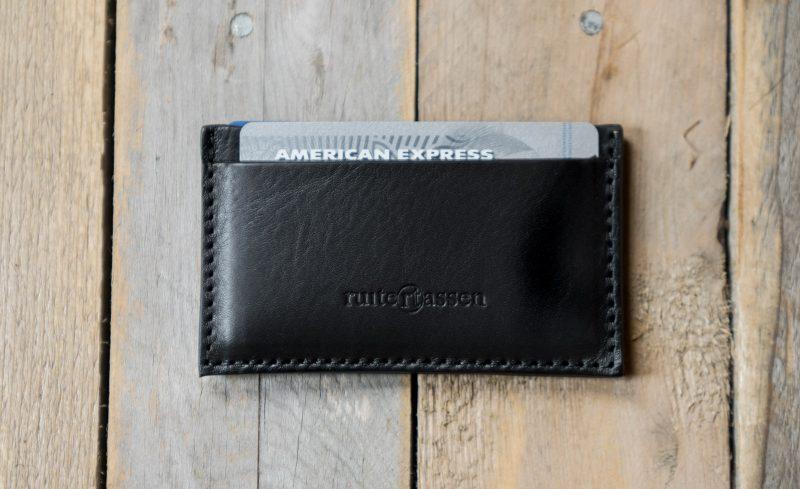 Black leather cardholder.