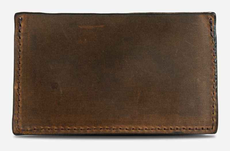 Brown leather card holder back view.