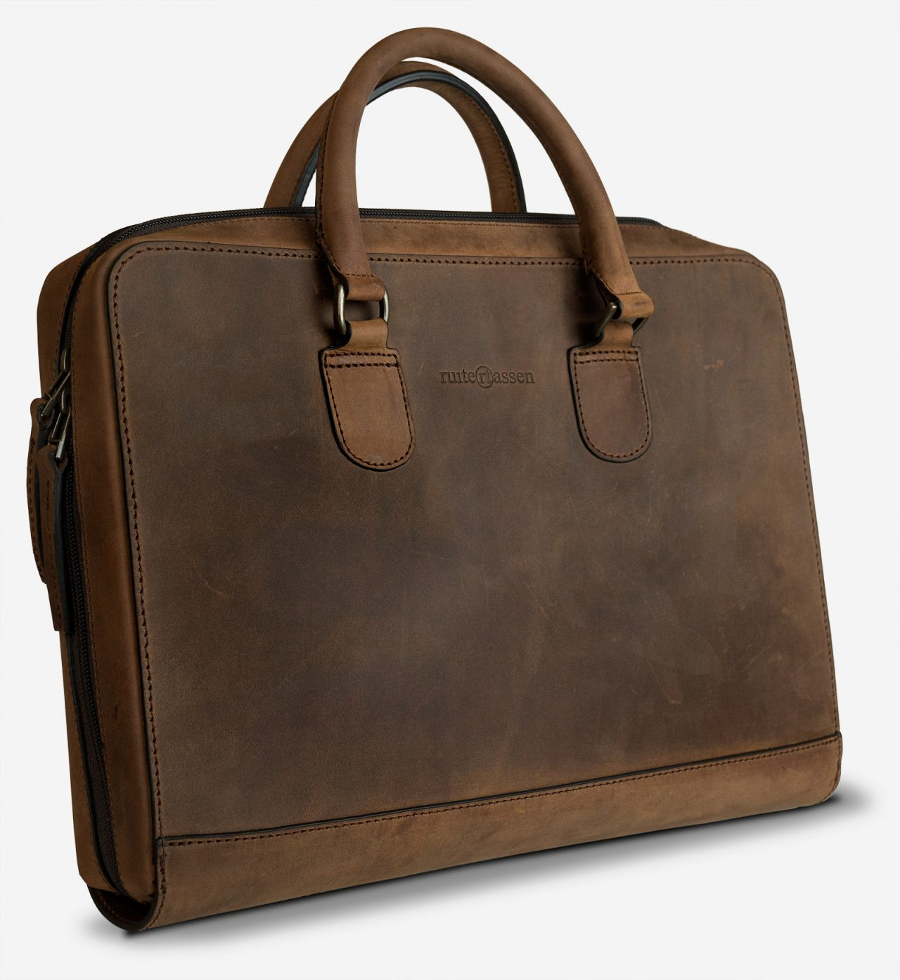 Vegetable-tanned leather portfolio briefcase.
