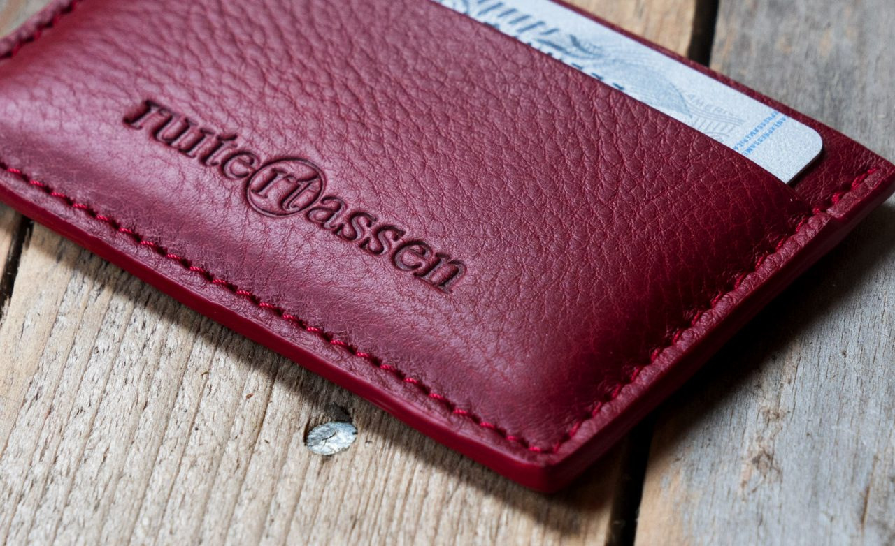 Red leather card holder.