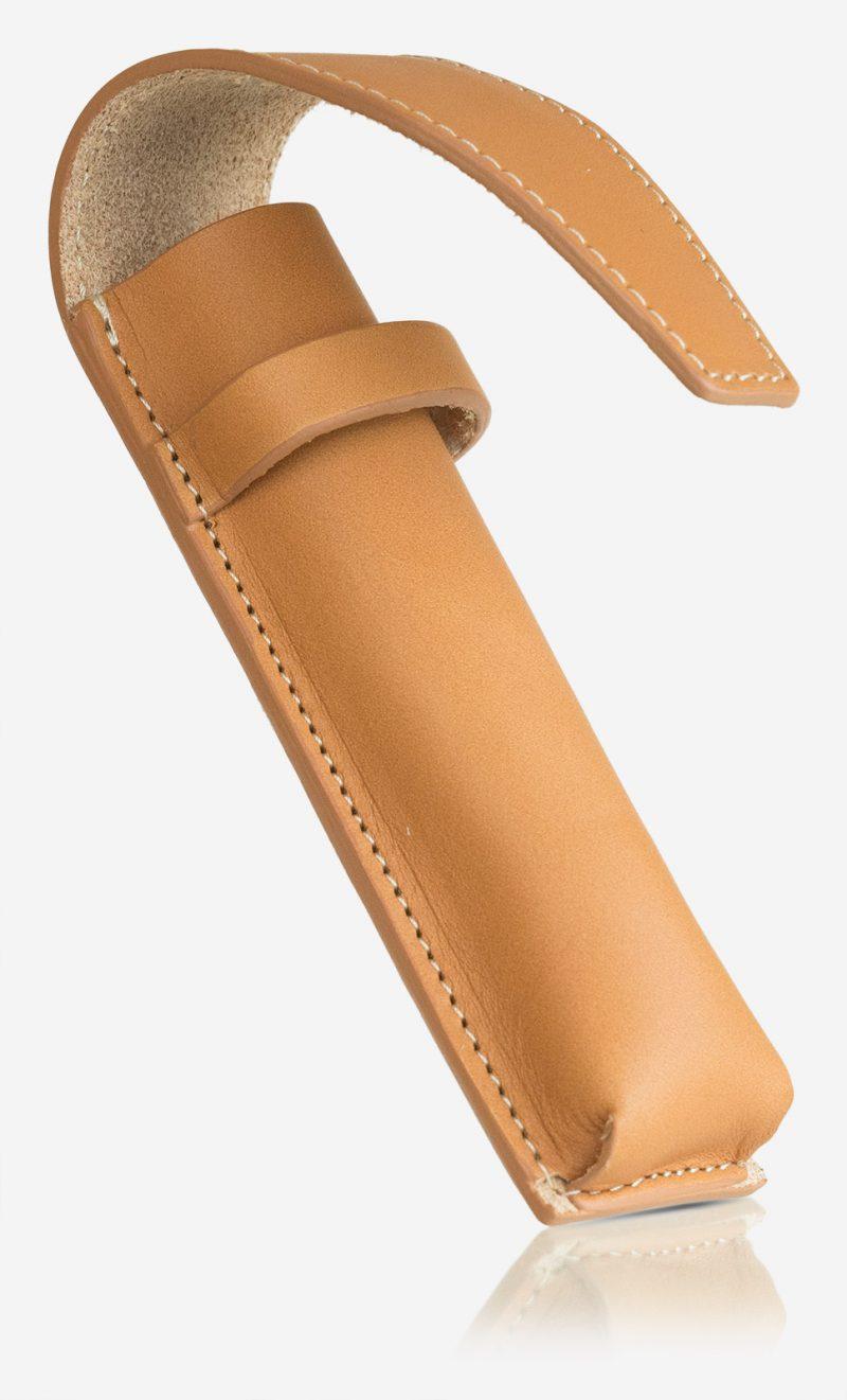 Handmade tan leather pen case.