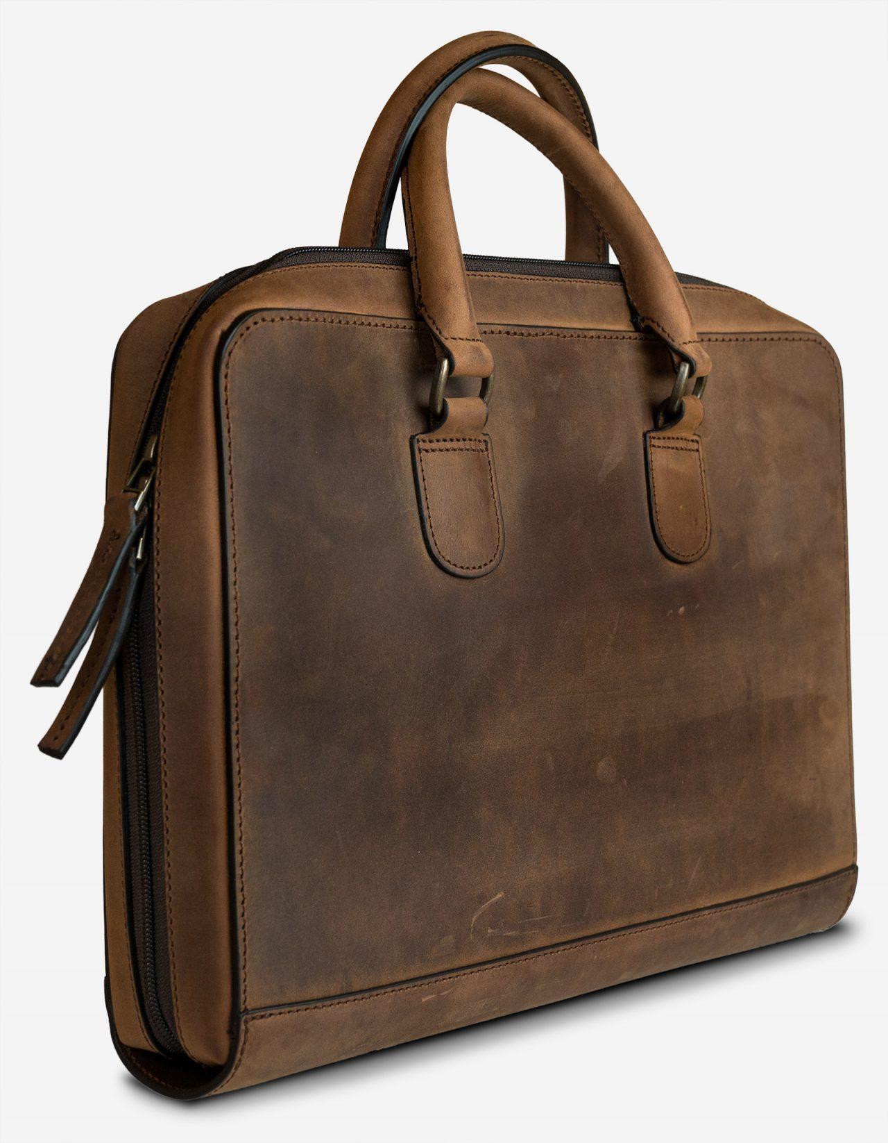 Full-grain leather portfolio briefcase.