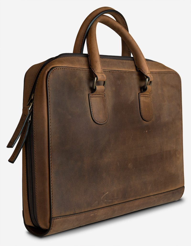 Full-grain leather portfolio briefcase.