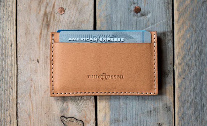 Light brown leather cardholder.