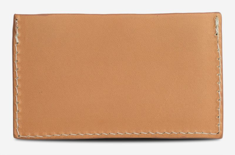 tan leather card holder back view.