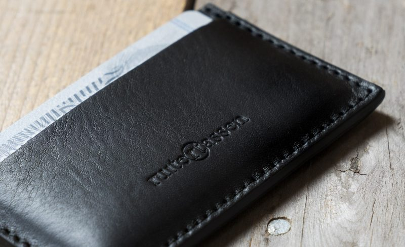 Black leather card holder.