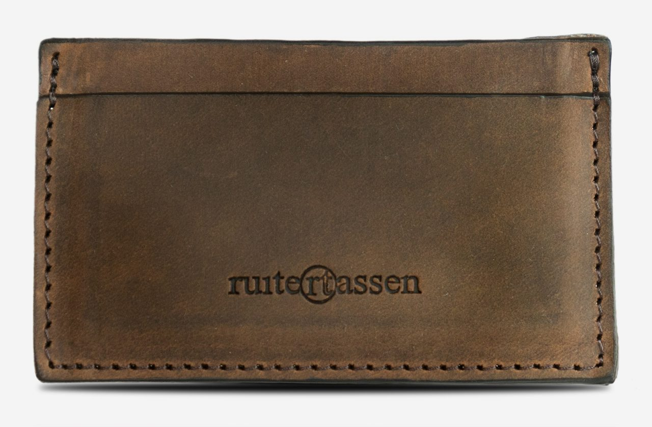 Brown leather card holder front view.