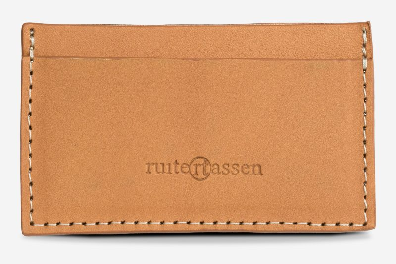 tan leather card holder front view.