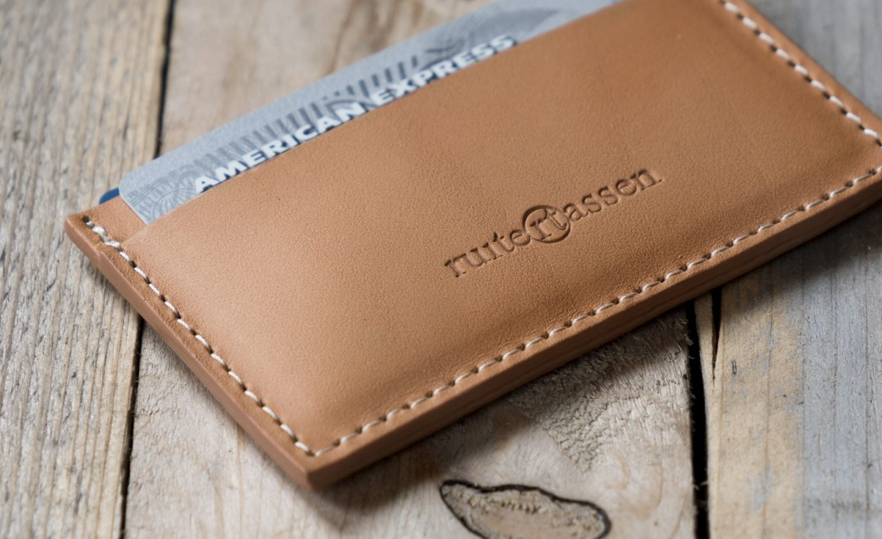 Light brown leather card holder.