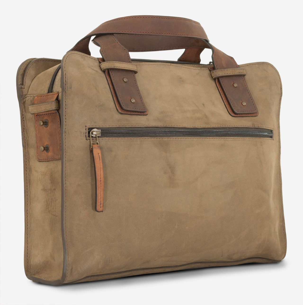 Dark olive green leather briefcase with zip pocket.