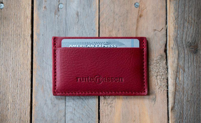 Red leather cardholder.