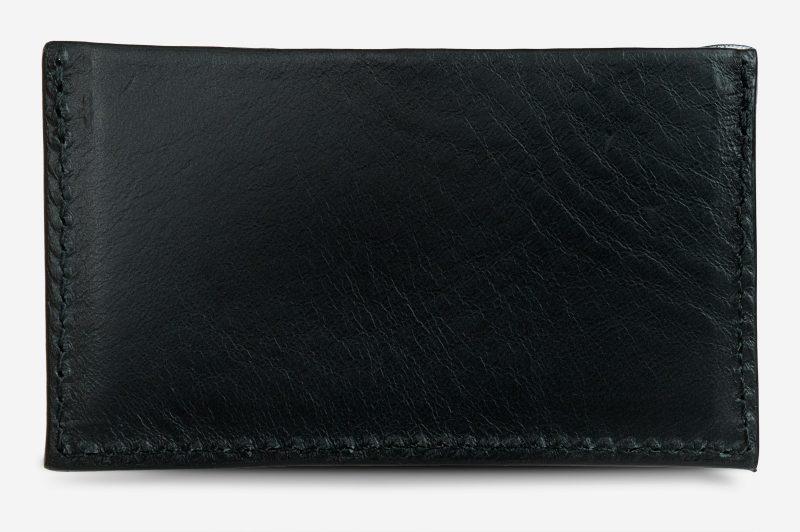 Black leather card holder back view.