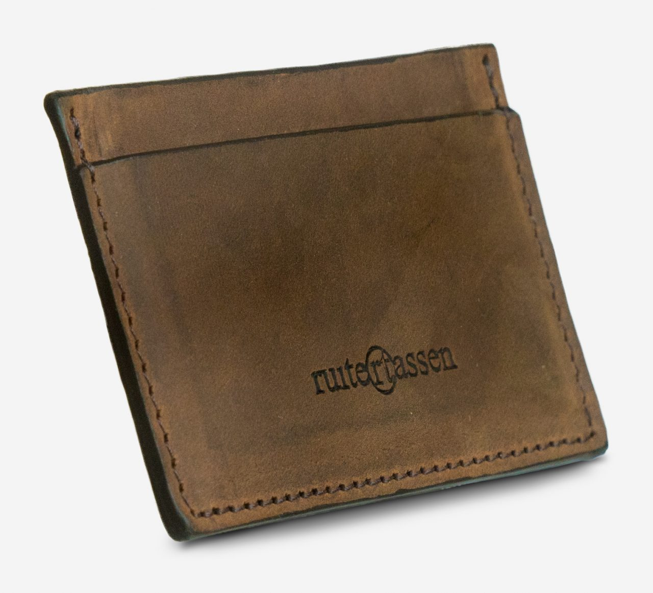 Brown leather card holder side view.