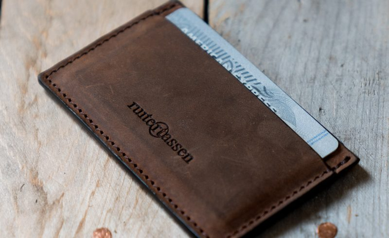 Brown leather card holder.