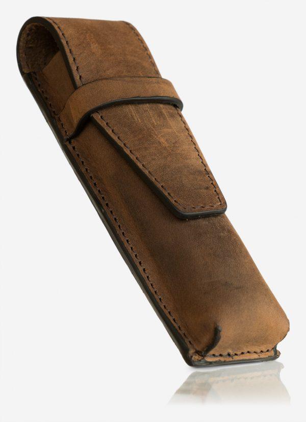 Brown leather pen case holder.