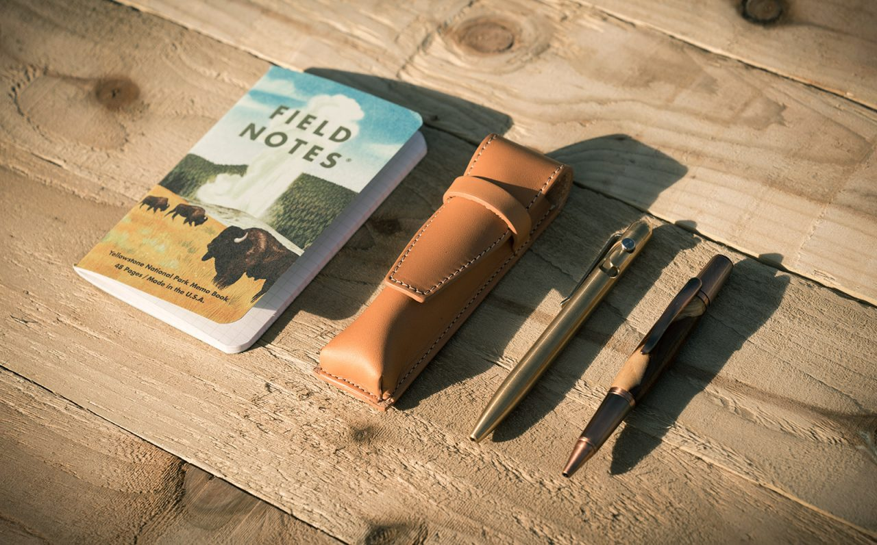 Vegetable-tanned leather pen case.