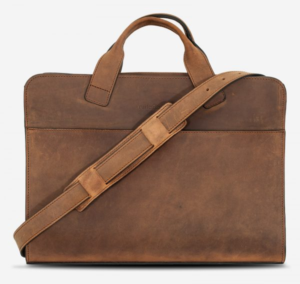 Brown leather briefcase with shoulder strap.