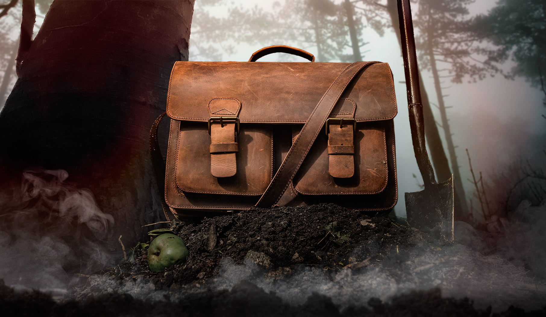 Large durable brown leather bag.