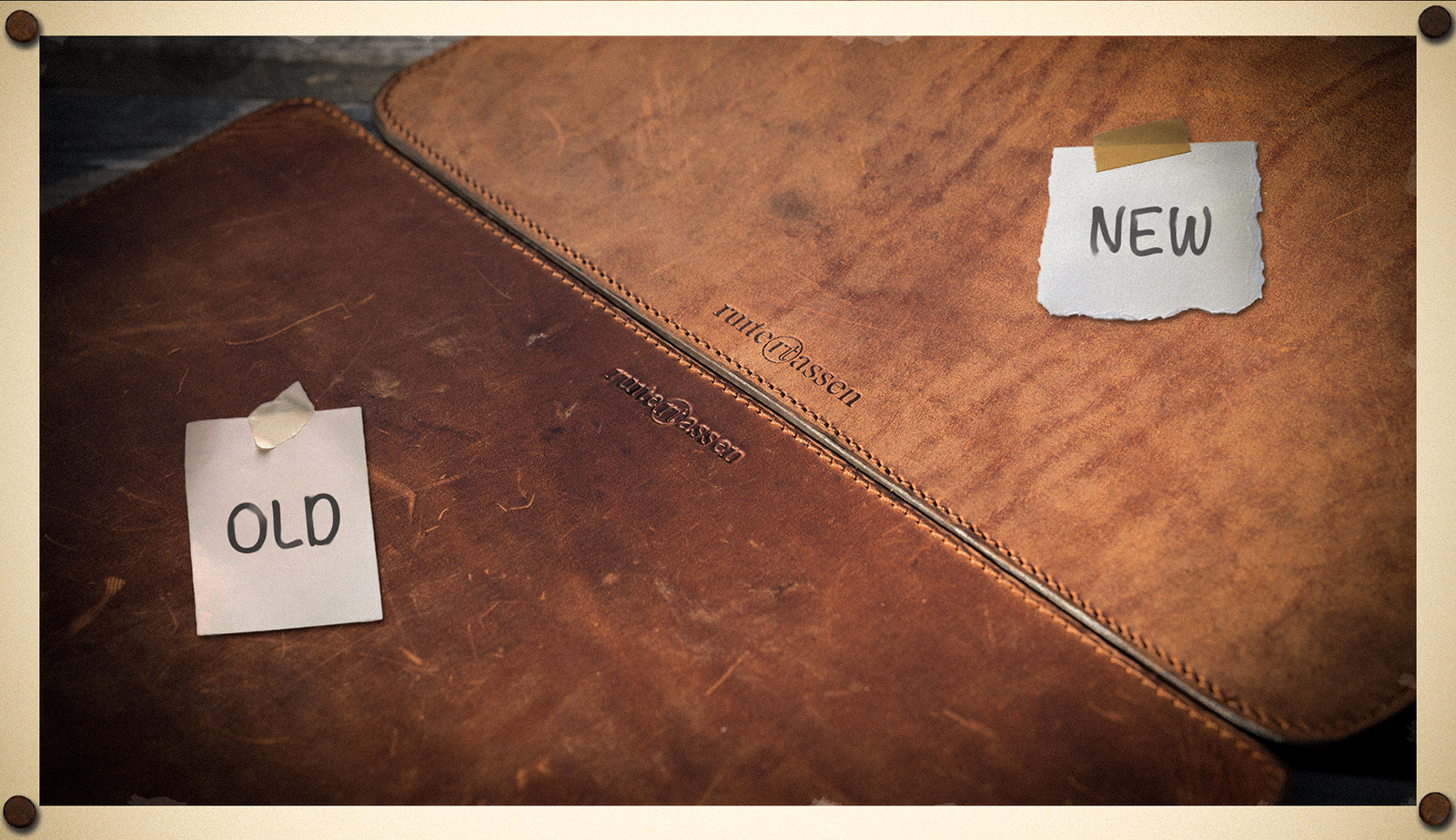 Vegetable-tanned leather patina before and after.